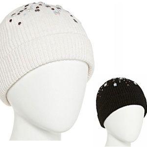 Mixit Womens Jeweled Beanie Hat Cuffed